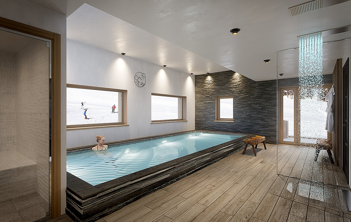 Spa with swimming pool, sauna and hammam in residence