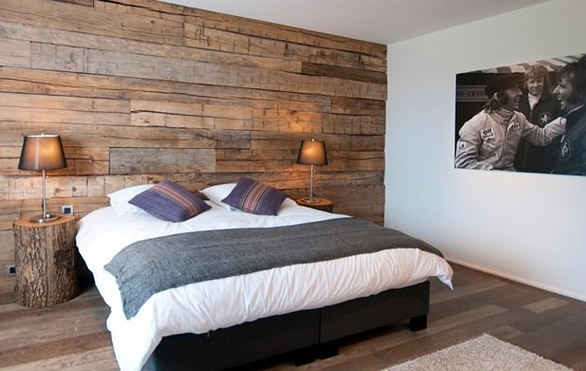 Bedrooms with wood clad walls
