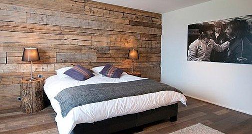 Bedrooms with wood clad walls