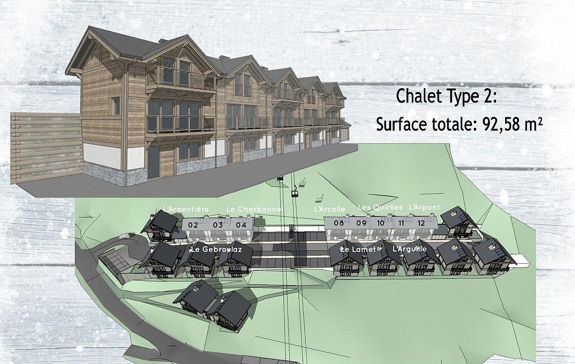 The Plan Masse showing the La Toussuire chalets for sale
