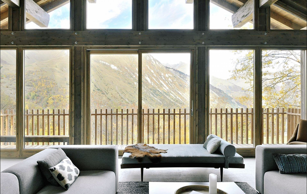 Living room and the glorious view from the chalet
