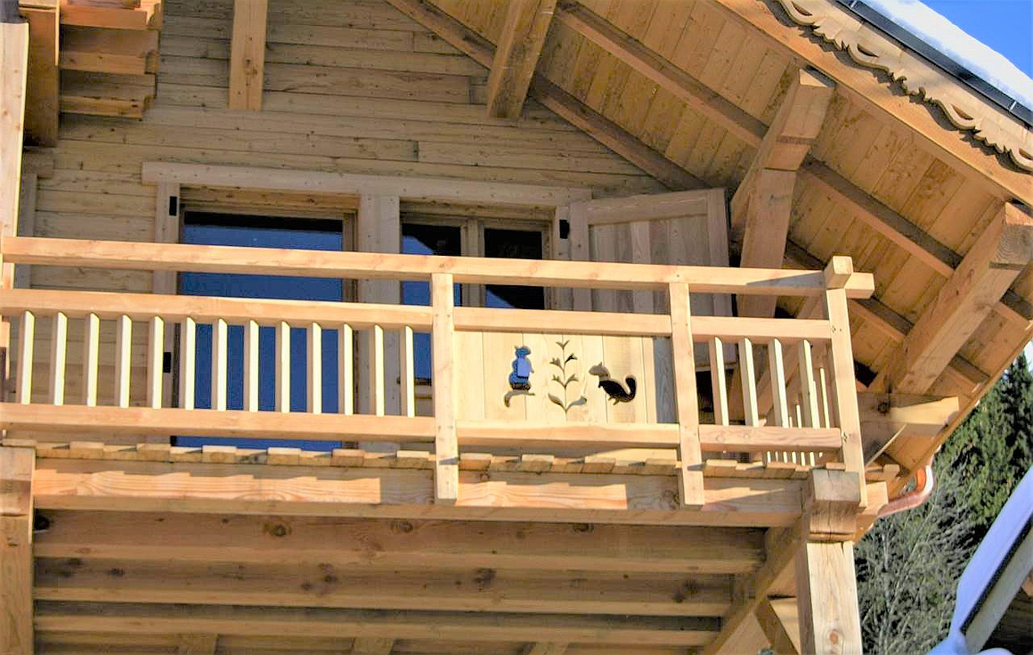 Multiple balconies of chalet