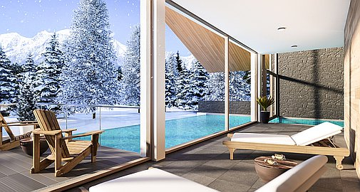 The indoor and outdoor heated pool