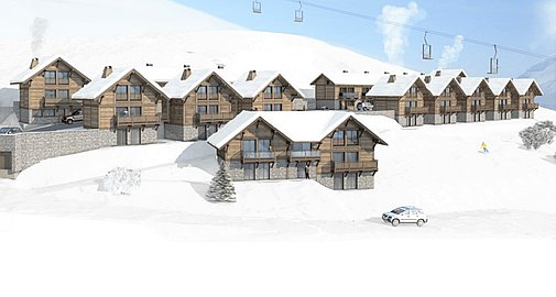 Implantation of 20 off plan chalets for sale in La Toussuire