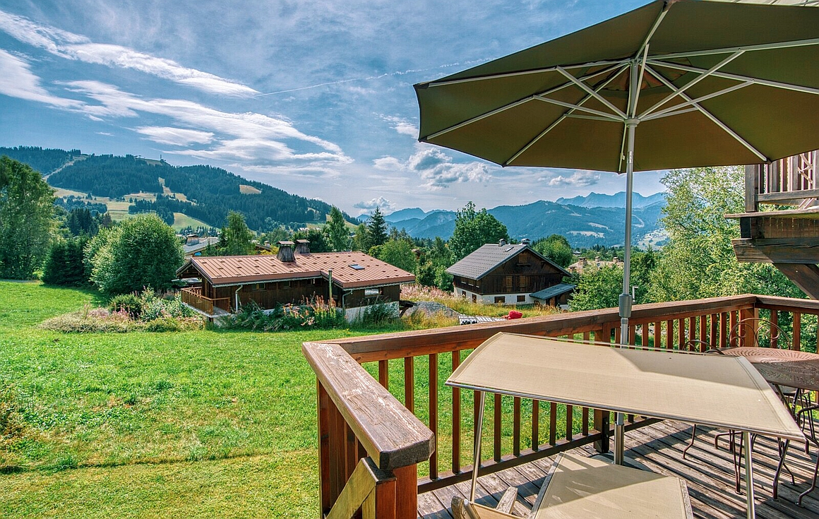 Terrace view from the apartment for sale in Megeve
