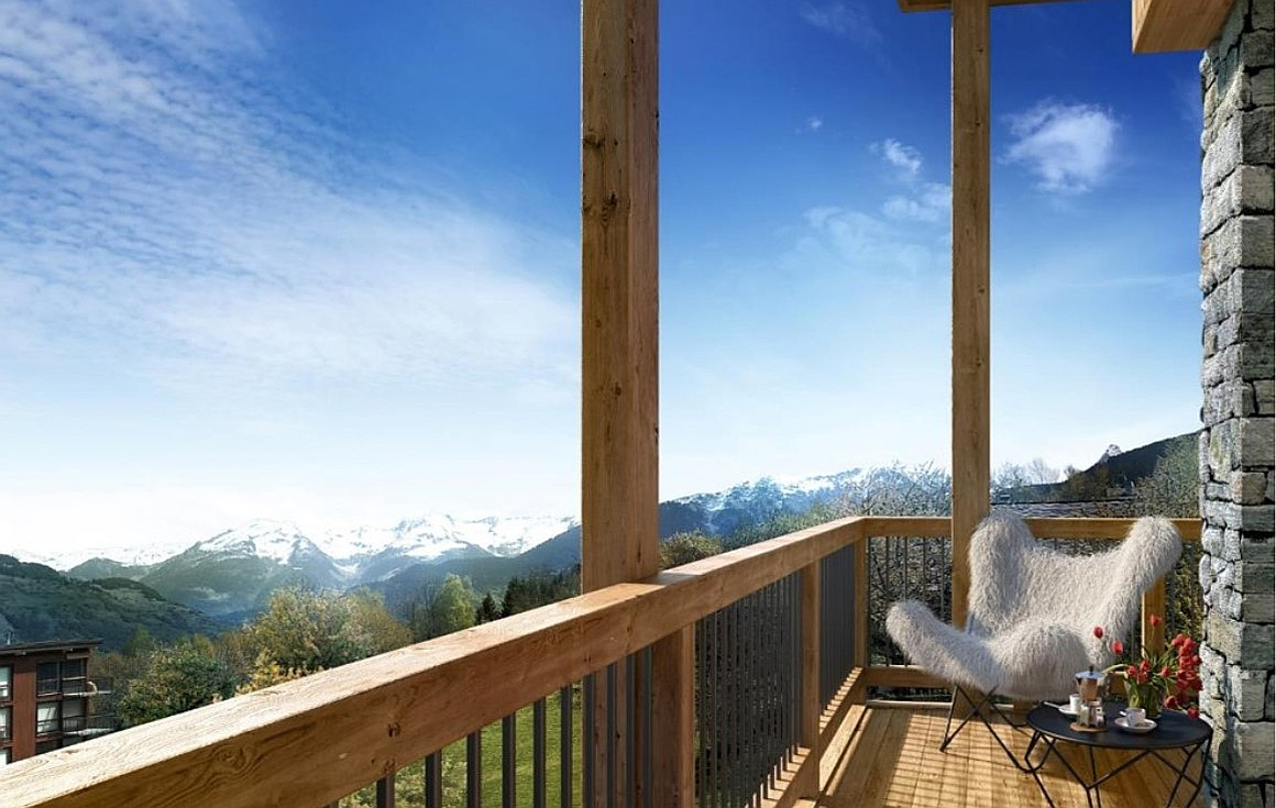 Wonderful views of the mountains from the chalets for sale in Le Praz, Courchevel