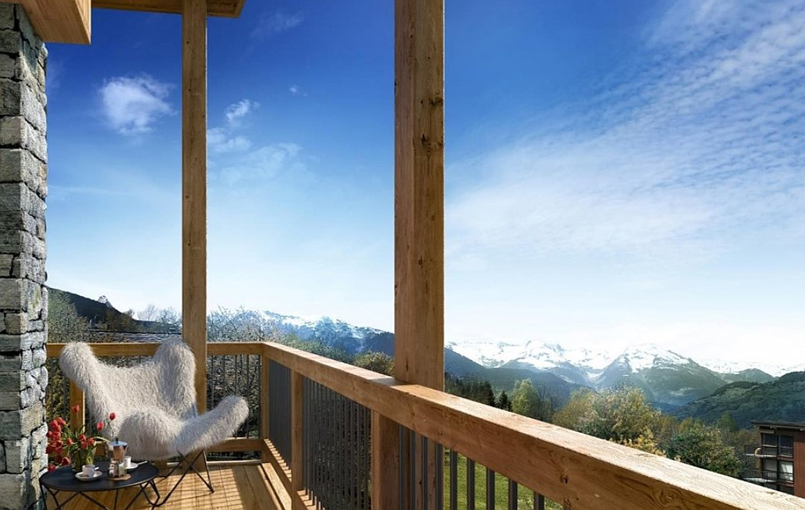 stunning views of mountains from chalets to be built moments from the new Alpinium