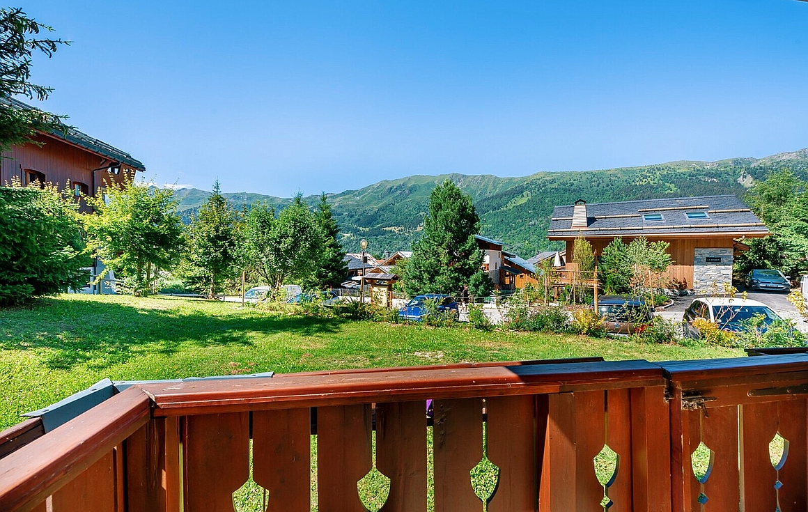 Terrace view from the apartment for sale in Meribel Village