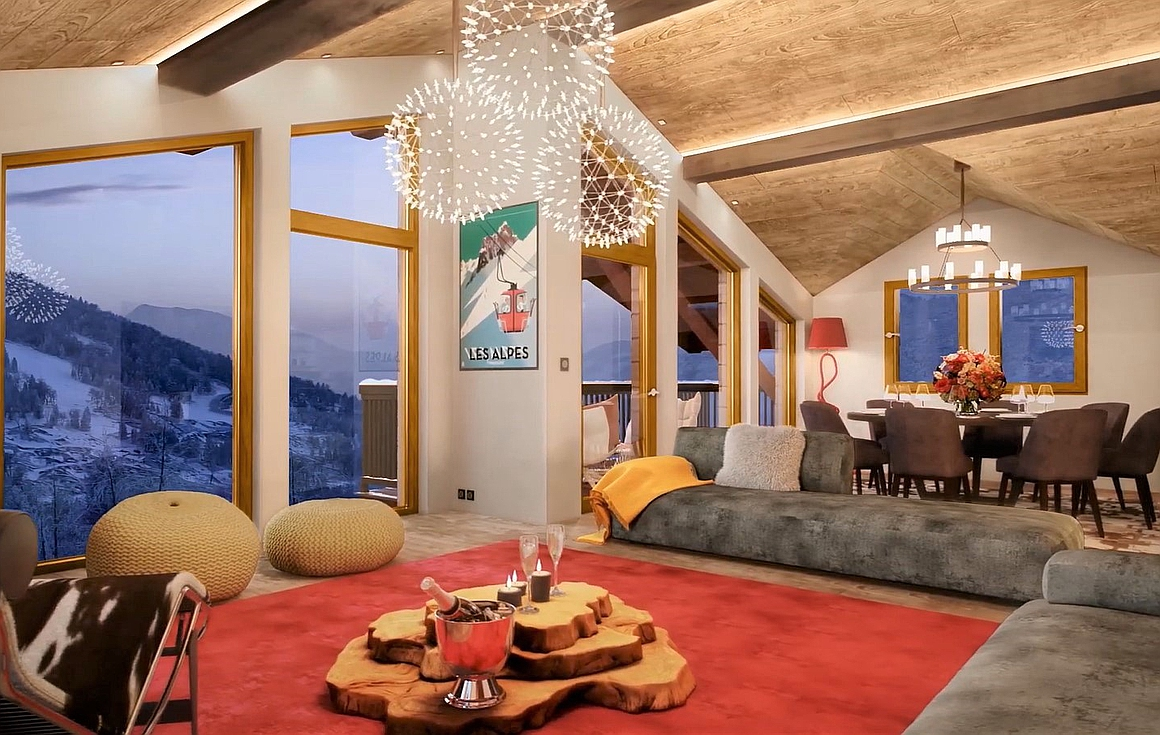 Interiors of the chalets for sale