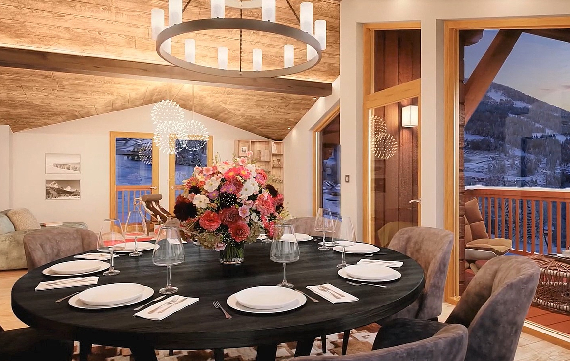 The interiors of the chalets for sale
