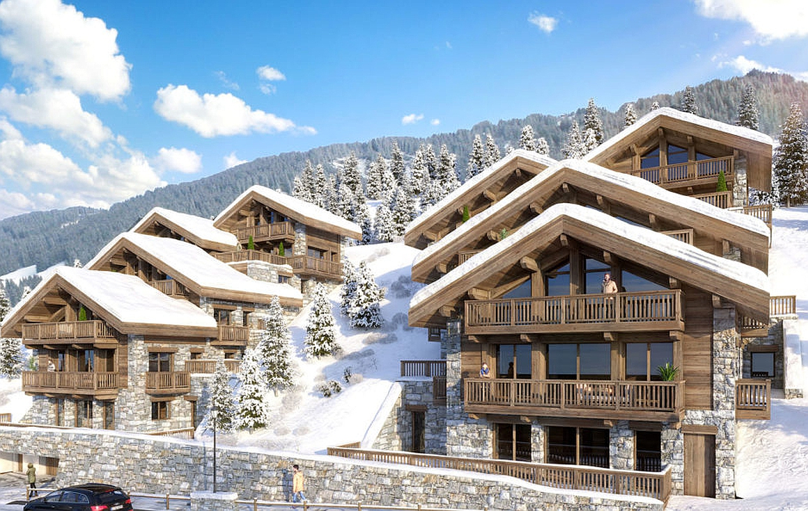 Exteior 3D visual of buildings containing Meribel apartments