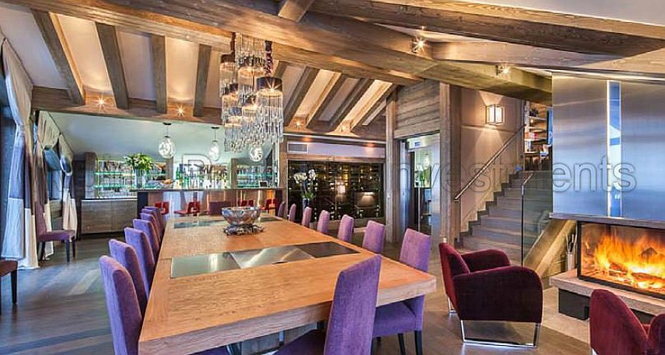 Large dining room with fireplace