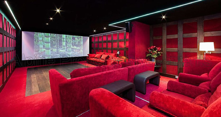 The cinema room and bar